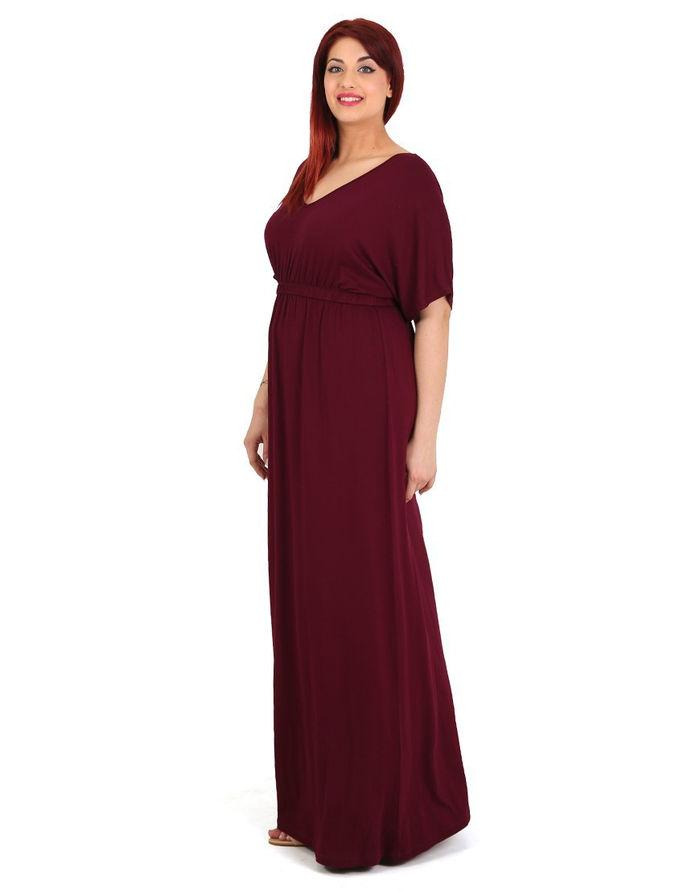 Κοντομάνικο μάξι φόρεμα με V λαιμουδιά και λάστιχο